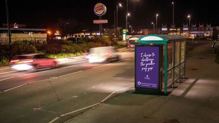 IWD billboard advertising ChooseToChallenge with Alight Media