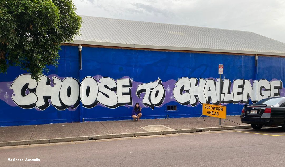 IWD street art - Choose To Challenge - Ms Snaps
